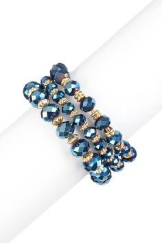 Blue Triple Bow Stretch Bracelet Set by Colorful Crystals: Spring Jewelry on @HauteLook