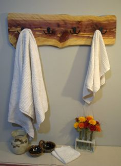 Live Edge Juniper Towel Rack by CherryCreekDesignsUS on Etsy