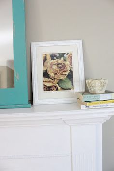 Up-cycled garage sale frame and book print!