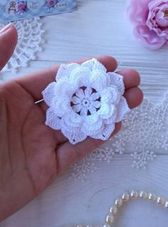 This flower made of cotton. Size: cm inch) The use of flower can be for sewing,scrapbooking, baby headband, and other hand work. Crochet Puff Flower, Crochet Flower Patterns, Crochet Motif, Crochet Designs, Crochet Doilies, Crochet Flowers, Crochet Headbands, Baby Headbands, Tiny Flowers