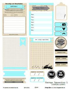 Vintage typewriter1 journaling cards preview Vintage Typewriter 1 Journaling Cards   Free Printable Download