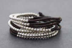 Silver Brown Beaded Wrap Bracelet Necklace