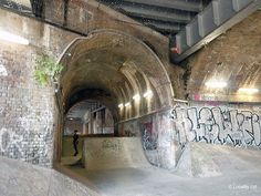 Alley, Arches, Graffiti, Textured wall, Tunnel, Urban wasteland