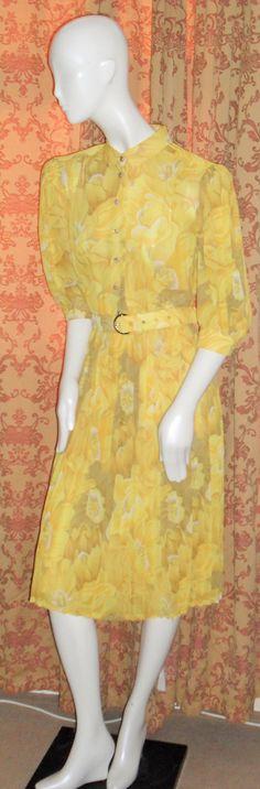 Vintage 1970s Floral Pleated Yellow Dress by AuntyDollsWardrobe