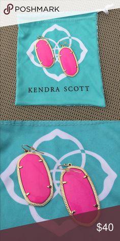 """Kendra Scott Danielle Earrings in Magenta Kendra Scott Danielle Earrings in Magenta PRODUCT DETAILS • 14K Gold Plated Over Brass • Size: 1.89""""L x 1""""W on earwire Kendra Scott Jewelry Earrings"""