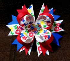 """4.5"""" Stacked Boutique Hair Bow Stacked Loopy Hair Bow w/Spiked Pinwheel Base Rhinestone Autism Awareness Puzzle Heart Embellishment Autism Awareness Grosgrain Ribbon Covered Metal Alligator Clip with"""