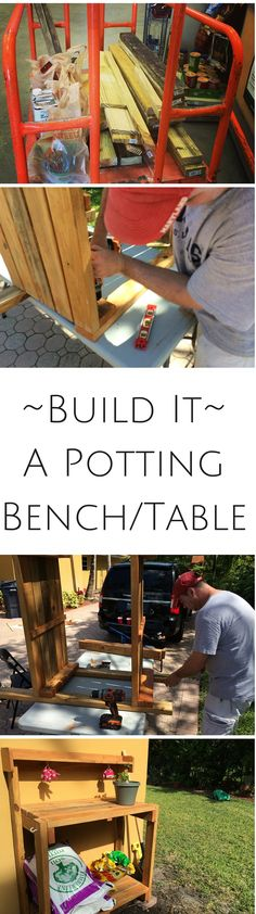 A DIY project for your garden. We built his potting bench one weekend and use it all the time. It can be even converted into a bar!