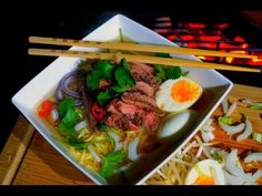 Grilled Beef NOODLE SOUP recipe - How To make Ramen Noodle Soup - Pho BO - ラーメンのスープの作り方 - YouTube