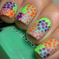 Wildly colorful purple lime green and orange dots on aqua nails