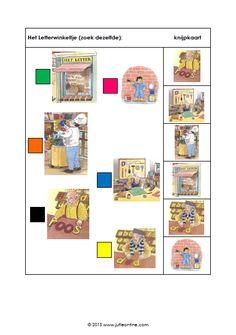 Knijpkaarten voor kleuters bij het thema 'Het Letterwinkeltje'