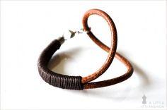 Exklusives Leder-Armband Armreif in Braun