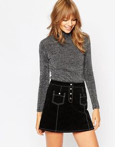 ASOS | ASOS Metallic Polo Neck with Long Sleeves at ASOS