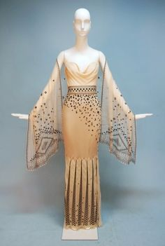 JEANNE LANVIN COUTURE EMBROIDERED CHIFFON EVENING