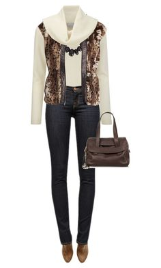 """""""Leopard Print Vest & Turtleneck"""" by daiscat ❤ liked on Polyvore featuring Pure Collection, Monies, H&M, J Brand, Rebecca Taylor and Jimmy Choo"""