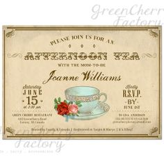 Baby Girl Boy Shower Tea Party Invitation - Afternoon Tea - Tea Party Invite - ANY OCCASION - Printable - No.477 on Etsy, $18.00