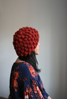 Hand Knit Beret in Bobble Pattern. Soft Merino by BayleafStudio, $70.00