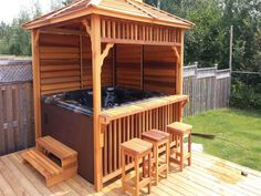 Hot Tub Enclosures for Winter - Everyone loves hot tubs! Here's how to enclose them! Informations About Hot Tub Enclosures for Win - Hot Tub Gazebo, Hot Tub Backyard, Hot Tub Garden, Garden Gazebo, Diy Gazebo, Garden Bar, Garden Jacuzzi Ideas, Outdoor Hot Tubs, Diy Arbour