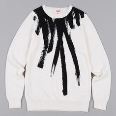 YMC Paint Brush Crew Knit - White/Black