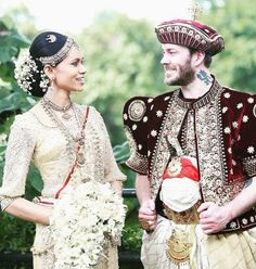 The detail and embellishment on the groom's outfit rivals even the bride's in a conventional Sri Lankan wedding.