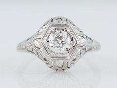 Antique Engagement Ring Edwardian .58ct Old by FiligreeJewelers