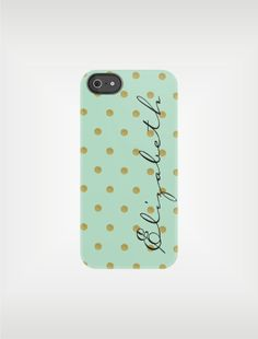 Mint and Gold iPhone Case or Samsung Galaxy Case - Mint Green and Gold Dots - original design by a drop of golden sun