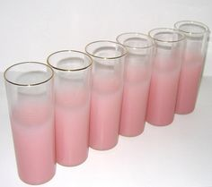 Vintage 1950s Clear & Pink Drinking Glasses Barware - Set Of Six. $40.00, via Etsy.