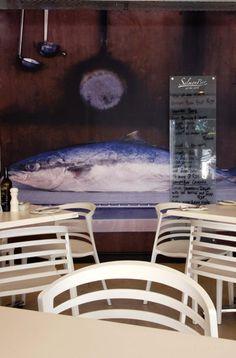 Salmon Bar Franschhoek - Custom wall graphic Custom Wall, Salmon, Dining Table, Bar, Furniture, Home Decor, Decoration Home, Room Decor, Dinner Table