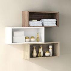 Mobilier de rangement suspendu pour salle de bain. Modèle ouvert, installation à l'horizontale, 3 finitions possibles.
