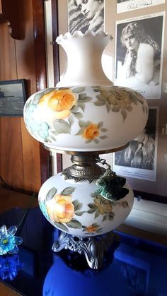 """vintage 70's gwtw gone with the wind hurricane table lamp 3-way 17"""" handpainted"""