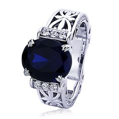 Sterling Silver Art Deco Design Oval Simulated Blue Sapphire CZ Flue De Lis Cocktail Ring  Size 5 to 9  5 -- To view further for this item, visit the image link.(This is an Amazon affiliate link and I receive a commission for the sales)
