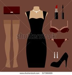 Vector icon set of clothes and accessories: evening little black dress, shoes, stockings, lingerie, bag (clutch), jewelry, cosmetic (lipstick, mascara). Elements for design and fashion illustrations.