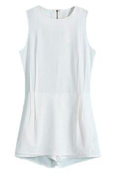 ROMWE | ROMWE Sleeveless Zippered Sheer White Siamese Shorts, The Latest Street Fashion