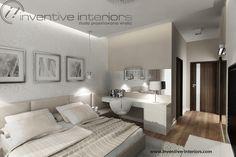 Projekt sypialni Inventive Interiors - beżowa ciepła sypialnia z dekoracyjną tapetą i toaletką