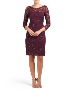 All Over Lace Dress With Sequin