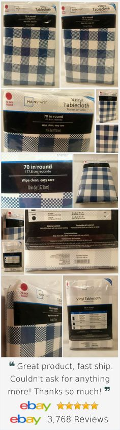 Tablecloth Blue White Checkered 70 Inch Round Picnic BBQ Party Vinyl New