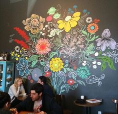 Hand painted flowers on wall
