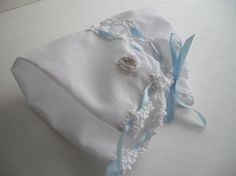 White Hand Crochet Silk Embroidered Heirloom Wedding Hanky DIY Baby Bonnet Including No Sew Directions For Bride Handmade by handcraftusa