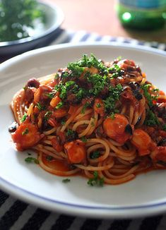 Arrabbiata con Polpo / Pasta | Simple and easy: Use our CORTAZZO ARRABBIATA SAUCE. http://www.riley-land.com/?product=arrabiata-sauce