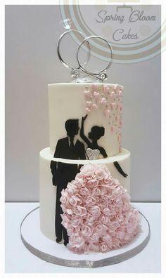 Silhouette cake with stunning wedding dress - Torten Ideen -Wedding cake. Silhouette cake with stunning wedding dress - Torten Ideen - Pretty Wedding Cakes, Wedding Cake Designs, Wedding Cake Toppers, Wedding Cupcakes, Sparkle Wedding Cakes, Blush Pink Wedding Cake, Nautical Wedding Cakes, Cheesecake Wedding Cake, Elegant Birthday Cakes
