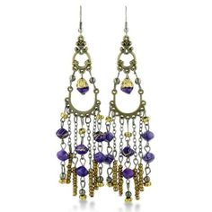 Click Image Above To Buy: Antique Finish Gold Tone Purple Beaded 4 Inch Chandelier Dangle Drop Earrings Fall Jewelry, Coin Jewelry, Jewelry Case, Indian Jewelry, Wire Jewelry, Chandelier Earrings, Drop Earrings, Pearl Earrings, White Beads