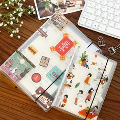 Creative PP PVC Cover Spiral Notebook Accessory Journal Dairy Transparent 6 Holes Binder Planner Cover For School Supplies A5 Binder, Ring Binder, Binder Decoration, Spiral Notebook Covers, Cute Stationery, Stationary, Plastic Binder, Sticker Organization, Refillable Planner