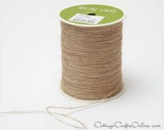 """Twisted burlap jute string, approximately 1/32"""" diameter, by May Arts. Roll of 400 yards available from the Cottage Crafts Online shop on Etsy."""