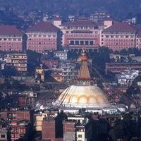 Hyatt Regency hotel as the backdrop for Boudhanath stupa. Minutes from my place.