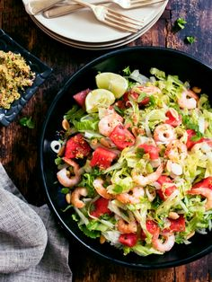 This delicious salad is truly summer in a bowl! The lime, chilli and mint salt gives a surprising zing which contrasts beautifully with both the prawns and the juicy sweet watermelon Sweet Watermelon, Watermelon Salad, Prawn, Popsicles, Lettuce, Pasta Salad, A Food, Food Processor Recipes, Salads