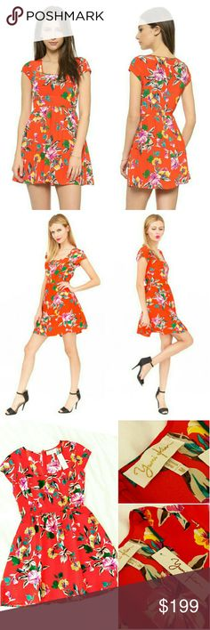135✂Yumi Kim Silk Floral Dress ⏩Gorgeous color that is so perfect for the end of summer & going into fall. It has a beautiful deep red-orange color that's so pretty! It's hard to capture how stunning the color is! ⏩Adorned with a vivid gorgeous floral print, it's truly a statement dress! ⏩Crafted from 100% high-grade pure silk, feels so luxurious on! ⏩Square neckline, cap sleeves, hidden back zip ⏩It even has POCKETS! So practical  ⏩You can pair it with booties or tights come fall! I could…
