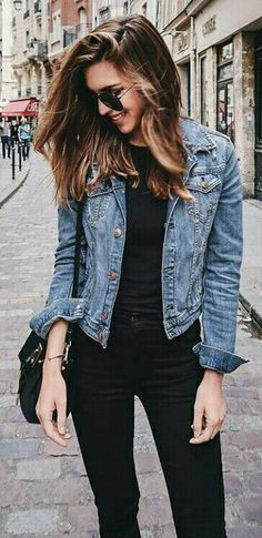 all black everything mixing it with denim