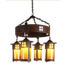 Steel Partners Pasadena 4 Light Shaded Chandelier Finish: Mountain Brown, Shade / Lens: Bungalow Green