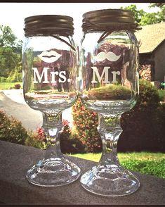 Redneck Wine glass Copas para el brindis de los Novios en la Boda....