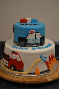 Fire & Police Car cake, Cakes by Suzanne Modlowski