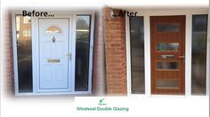 Contemporary Golden Oak composite door in a white upvc frame. Installed by Windseal Double Glazing based in Coventry & Warwickshire Front Doors, Garage Doors, Composite Front Door, Golden Oak, Coventry, Contemporary, Modern, Locker Storage, Composition